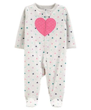 Carter's Heart 2-Way Zip Cotton Sleep & Play - Light Grey