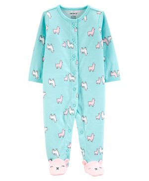 Carter's Lamb Snap-Up Cotton Cotton Sleep & Play - Sea Green