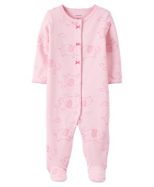 Carter's Elephant Snap-Up Cotton Sleep & Play - Pink