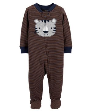 Carter's Tiger 2-Way Zip Cotton Sleep & Play - Brown