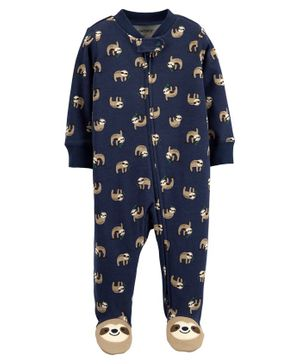 Carter's Sloth 2-Way Zip Cotton Sleep & Play - Navy Blue