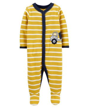 Carter's Construction Truck Snap-Up Cotton Sleep & Play - Yellow