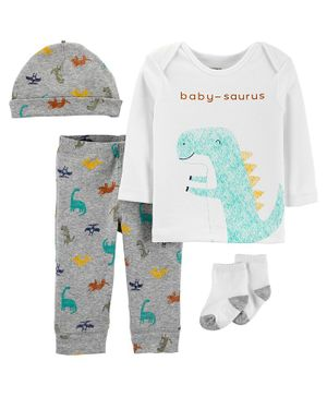 Carter's 4-Piece Dinosaur Take-Me-Home Set - Grey