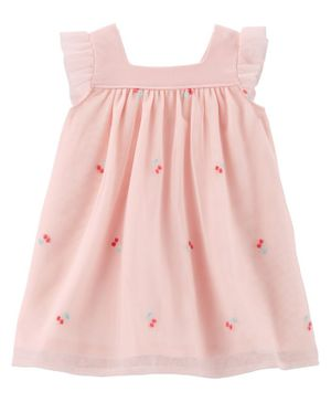 Carter's Cherry Tulle Holiday Dress - Pink