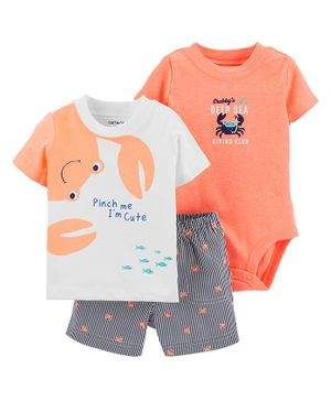 Carter's 3-Piece Crab Little Short Set - Orange