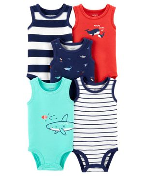 Carter's 5-Pack Whale Tank Bodysuits - Multicolour