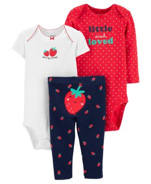 Carter's 3 Piece Strawberry Little Character Set - White Navy Red