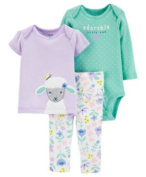 Carter's 3 Piece Sheep Little Character Set - Purple Green
