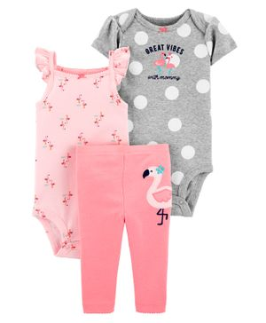 Carter's 3-Piece Flamingo Little Character Set - Pink Grey