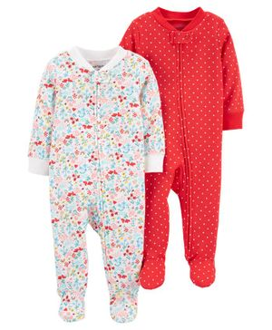 Carter's 2-Pack Zip-Up Cotton Sleep & Plays - White Red