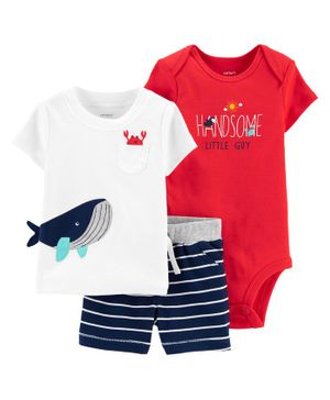 Carter's 3-Piece Whale Little Short Set - Red White Navy Blue