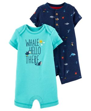 Carter's 2-Pack Whale & Shark Rompers - Blue Sea Green