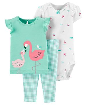 Carter's 3-Piece Flamingo Tee & Gingham Pant Set - Sea Green White
