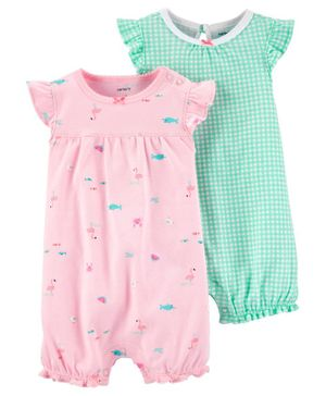 Carter's 2-Pack Checkered & Flamingo Rompers - Green Pink