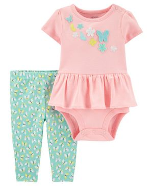 Carter's 2-Piece Striped Rainbow Bodysuit Pant Set - Pink Green