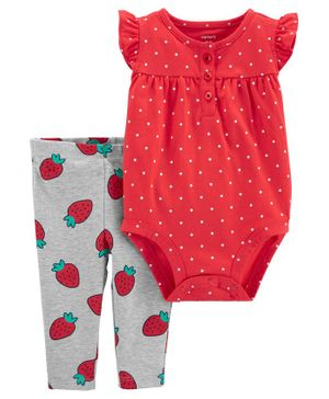Carter's 2-Piece Strawberry Bodysuit Pant Set - Red Grey