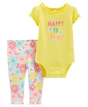 Carter's 2-Piece Floral Bodysuit Pant Set - Yellow Blue