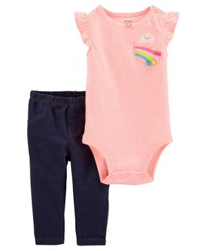 Carter's 2-Piece Striped Rainbow Bodysuit Pant Set - Pink Blue