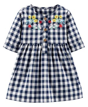 Carter's Gingham Dress - Blue White