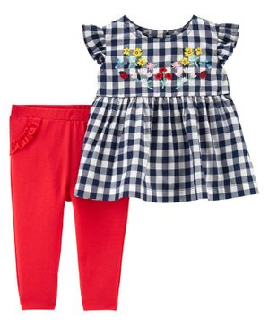 Carter's 2 Piece Gingham Frock & Legging Set - Red Blue