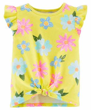 Carter's Floral Tie Front Jersey Top - Yellow
