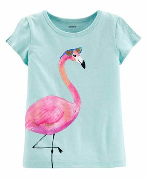Carter's Flamingo Split Shoulder Jersey Tee - Blue