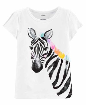 Carter's Zebra Split Shoulder Jersey Tee - White