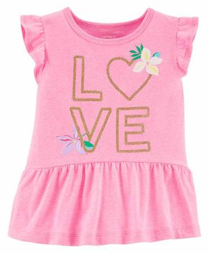 Carter's Flutter Sleeves Frock Style Top Love Print - Pink