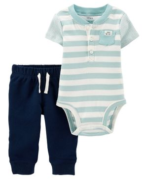 Carter's 2-Piece Striped Henley Bodysuit Pant Set - Blue