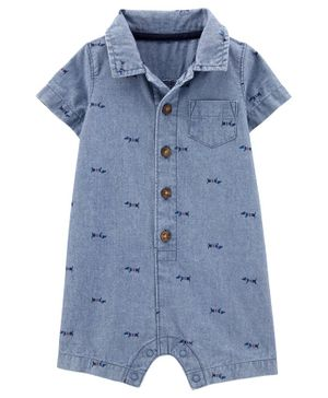 Carter's Dog Chambray Romper - Blue
