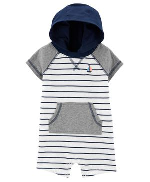 Carter's Striped Hooded Romper - Grey Blue