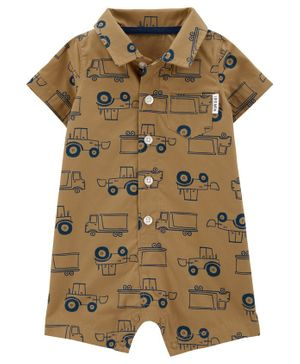Carter's Trucks Poplin Romper - Brown
