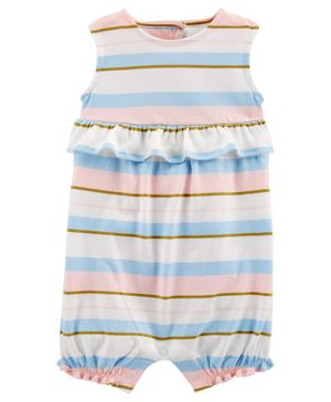 Carter's Striped Ruffle Jersey Romper - Blue Pink