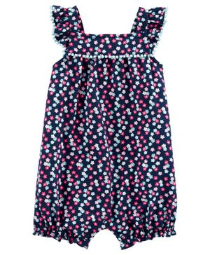 Carter's Floral Bubble Romper - Navy Blue