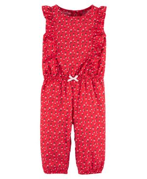 Carter's Floral Ruffle Drapey Jumpsuit - Red