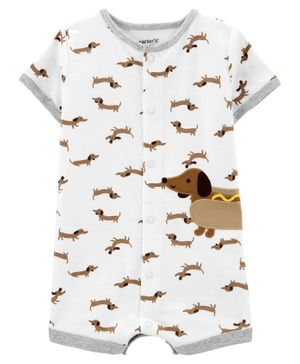 Carter's Puppy Snap-Up Romper - White
