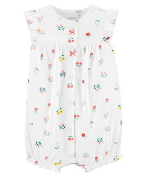 Carter's Floral Snap-Up Romper - White