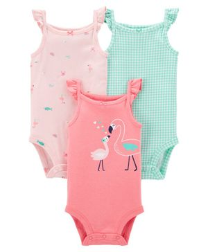 Carter's Sleeveless Onesies Multi Print Pack of 3 - Pink Green