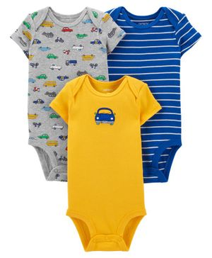 Carter's Half Sleeves Onesies Multi Print Pack of 3 - Grey Blue Yellow