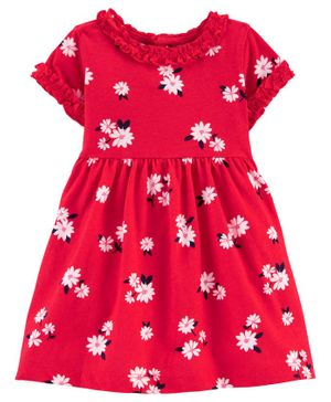 Carter's Floral Jersey Dress - Red