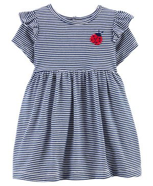 Carter's Striped Ladybug Jersey Dress - Blue