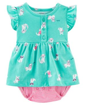 Carter's Dog Bodysuit Dress - Sea Green Pink