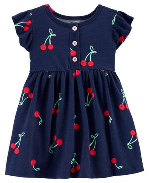 Carter's Cherry Jersey Dress - Navy Blue