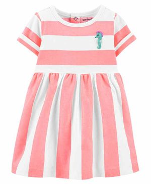 Carter's Striped Seahorse Jersey Dress - Pink