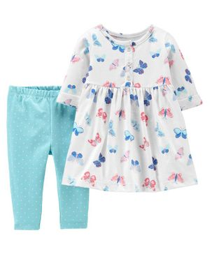Carter's 2-Piece Butterfly Jersey Dress & Legging Set - White