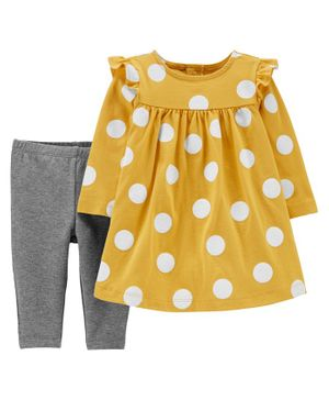 Carter's 2-Piece Polka Dot Jersey Dress & Legging Set - Yellow