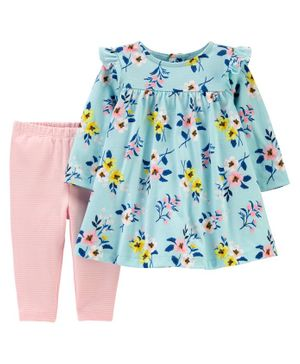 2-Piece Floral Jersey Dress & Striped Legging Set - Blue