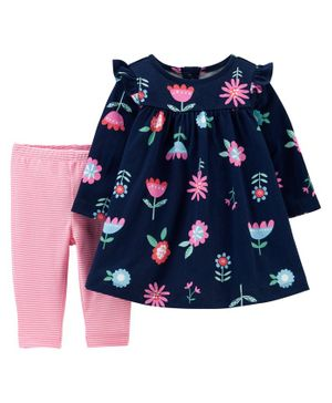 Carter's 2-Piece Floral Jersey Dress & Striped Legging Set - Blue