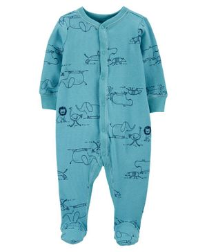 Carter's Zoo Animals Snap Up Cotton Sleep & Play - Blue