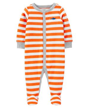 Carter's Striped Snap-Up Terry Sleep & Play - Orange